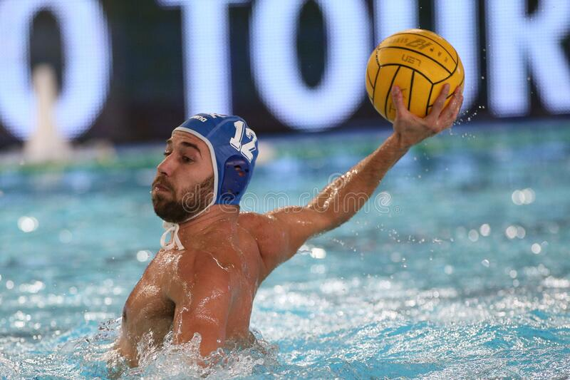 Waterpolo International Teams International Quadrangular - Hungary vs Greece. Angelos vlachopoulos (greece) during International Quadrangular - Hungary vs Greece royalty free stock images