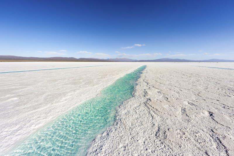 Waterpool op Zoutmeren Grandes Jujuy, Argentinië. stock foto