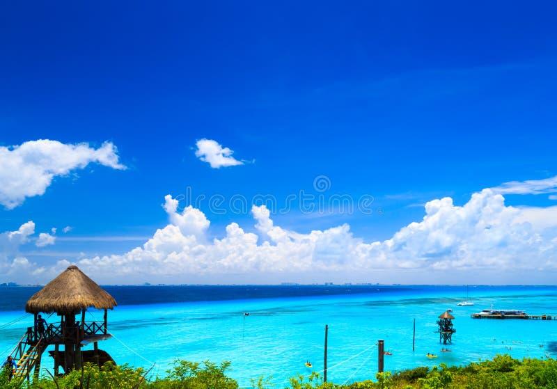 Waterpretpark Het Caraïbische overzees, Isla Mujeres stock foto