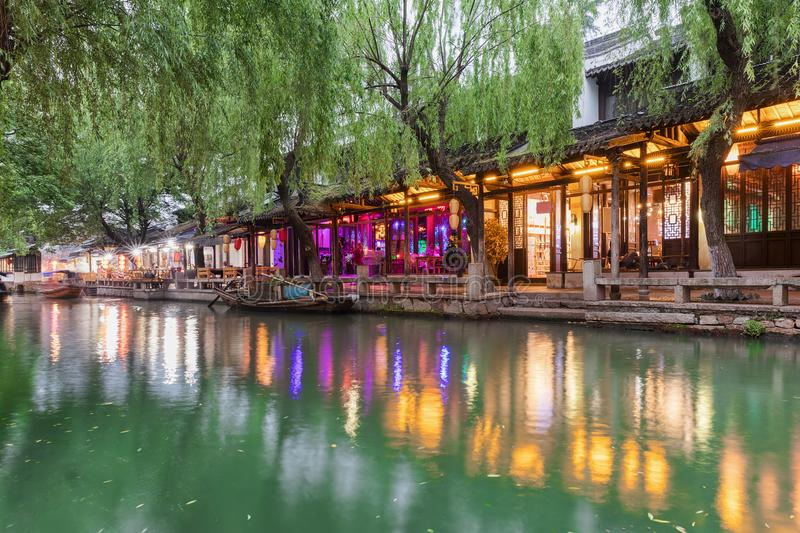 Waterpromande at the historic watertown of Zhouzhuang, Shanghai, China. Waterpromande with shops and restaurants at the historic watertown of Zhouzhuang stock photo