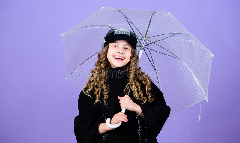 Waterproof accessories make rainy day fun. Enjoy rain concept. Fall season. Kids fashion trend. Love rainy days. Kid stock images