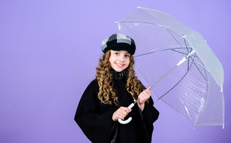 Waterproof accessories make rainy day fun. Fall season. Enjoy rain concept. Kids fashion trend. Love rainy days. Kid stock photos