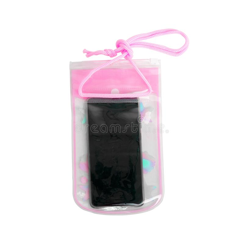 Waterproof Case for Mobile Phone with Water Droplets isolated on White Background with Clipping Path. Pink Pastel Zip Lock Bag Pro stock photography