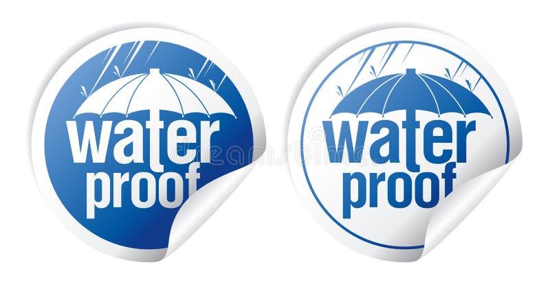 waterproof etiketter royaltyfri illustrationer
