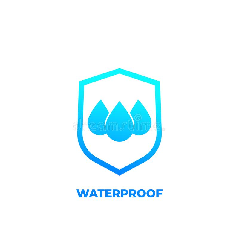 Waterproof icon, water resistant vector. Eps 10 file, easy to edit stock illustration