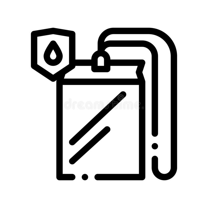 Waterproof Material Thing Cover Vector Line Icon. Waterproof Material Case, Roller Painter Equipment, Industrial Use Linear Pictogram. Clothes, Moisture stock illustration