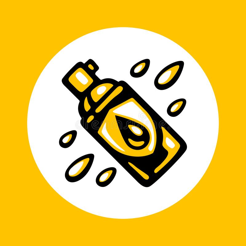 Waterproof spray bottle icon. In trendy flat style isolated on white background. Water resistant aerosol. Clothes, shoes protection. Textile durable water vector illustration