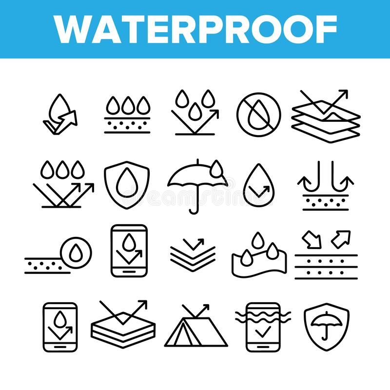 Waterproof, Water Resistant Materials Vector Linear Icons Set. Waterproof, Surface Protection Outline Cliparts. Hydrophobic Fabric Pictograms Collection. Anti vector illustration