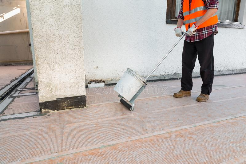 Waterproofing and thermal insulation of a terrace - roof stock photo