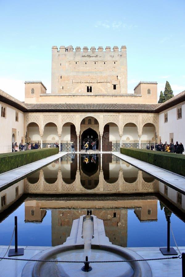 Waterreflexion przy Generalife w Granada obraz royalty free