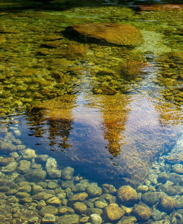 Waterrimpelingen in duidelijke, rotsachtige rivier royalty-vrije stock afbeelding