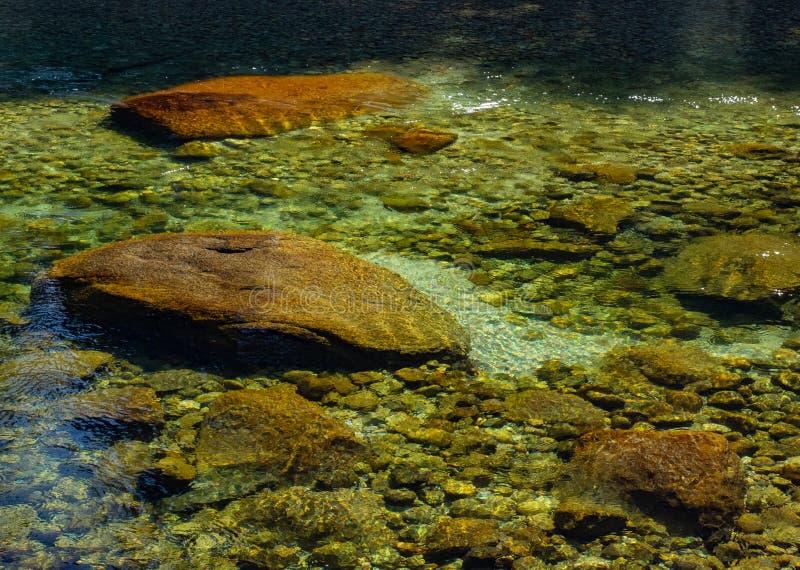 Waterrimpelingen in duidelijke, rotsachtige rivier stock afbeelding