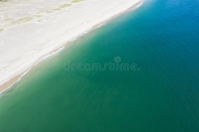 Aerial of Atlantic Ocean and Beautiful Cape Cod Beach royalty free stock photos
