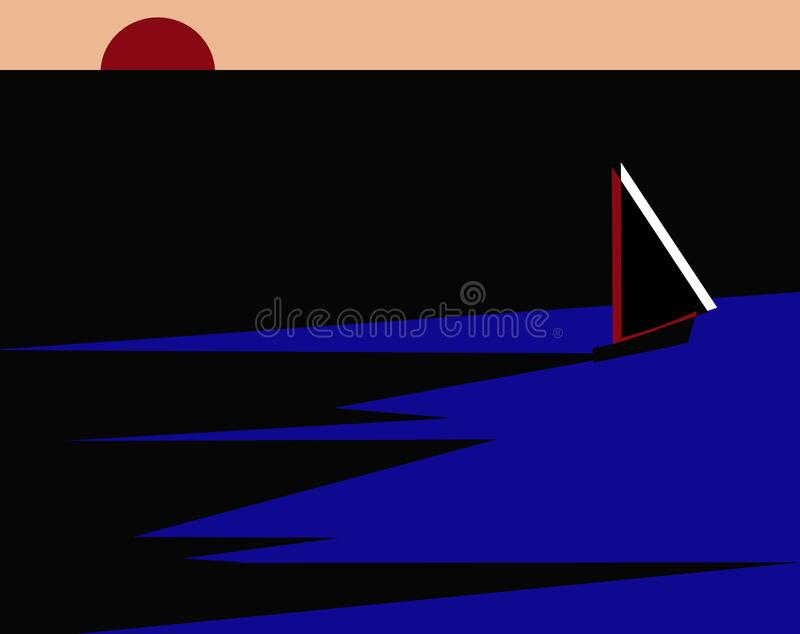 Waters cape during night with ship. Illustration of a waters cape during night with a ship sailing away stock illustration