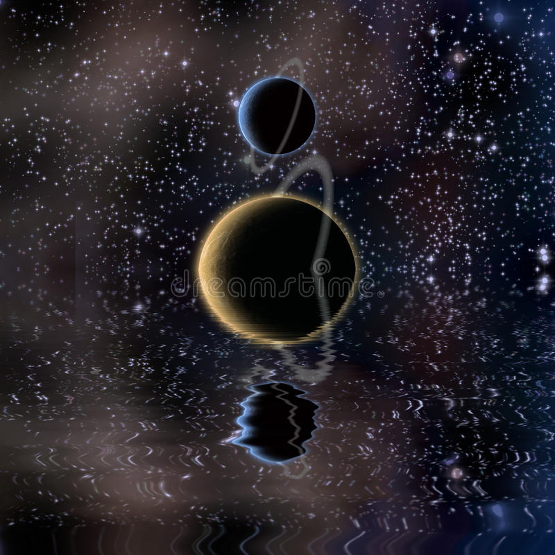 Waters reflection and Planets. Waters reflection and Exo-solar Planets stock illustration