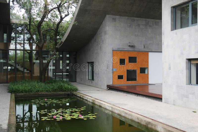 Modern architecture. The atrium garden.waterscape. stock photography