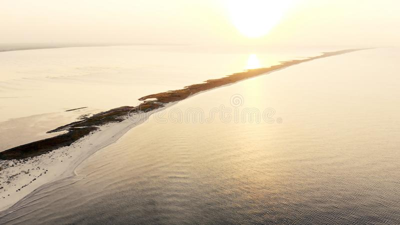 Waterscape with sea at beautiful sunset. royalty free stock images
