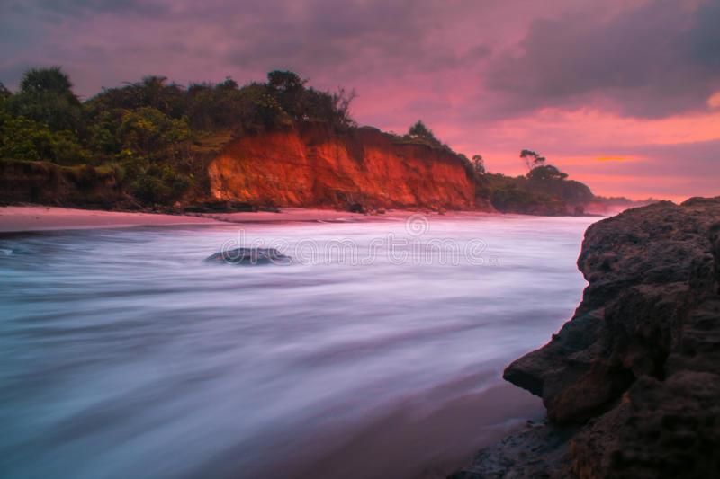 Waterscape. Sunrise on morning at karang beach bengkulu stock images