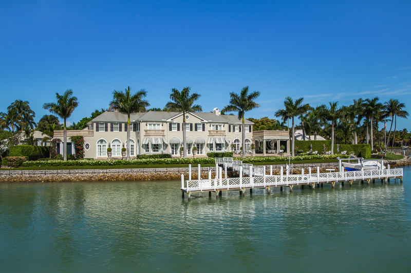 Waterside Home in Naples, Florida stock photos