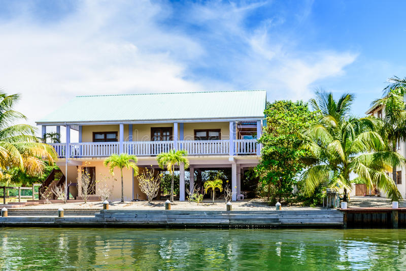 Waterside house, Placencia, Belize, royalty free stock photography