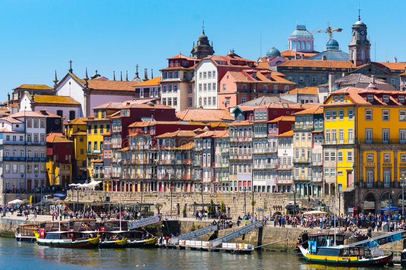 Waterside promenade porto, Portugal, colorful houses stock images