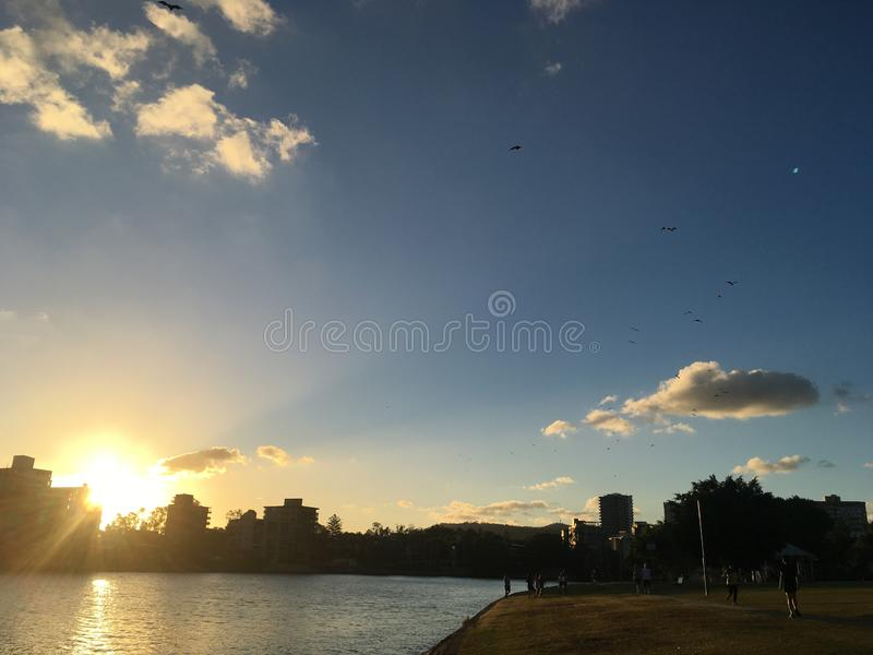 Sunset in Brisbane royalty free stock images