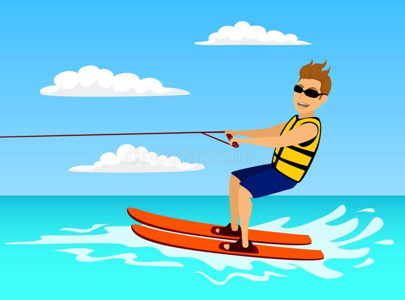 Waterski del montar a caballo del hombre deporte acuático extremo del verano ilustración del vector