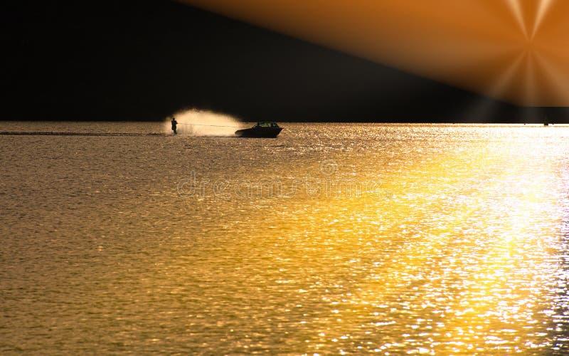 Waterskier bij zonsopgang stock foto's