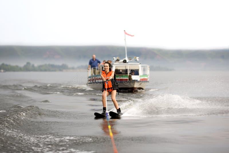 Waterskiing girl royalty free stock photo