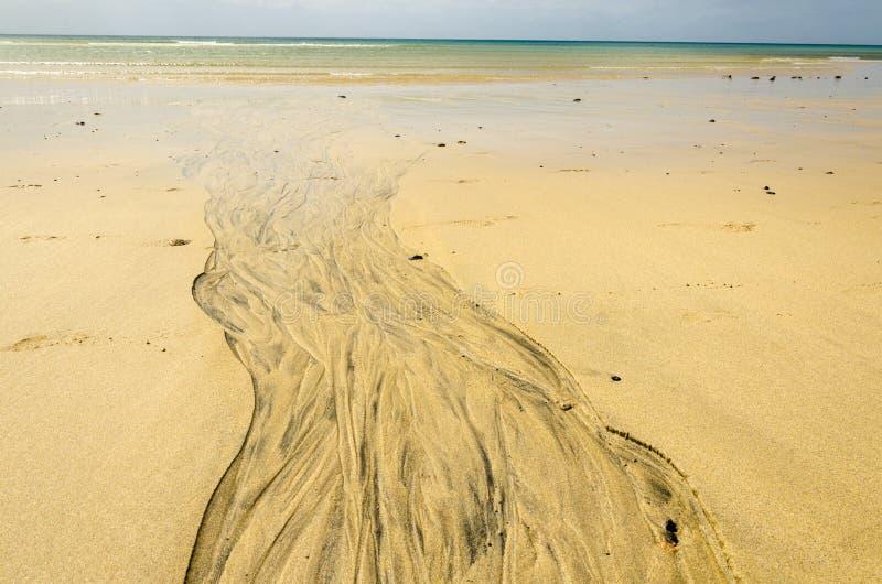 Watersleep op het zandige oceaanstrand royalty-vrije stock foto