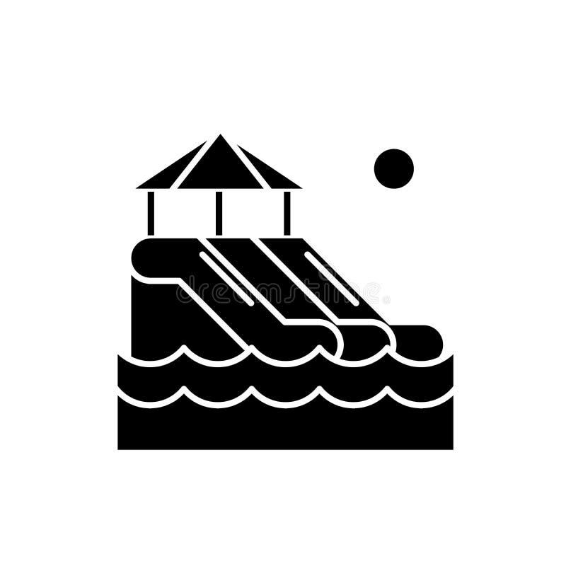 Waterslides черный значок, знак вектора на изолированной предпосылке Символ концепции Waterslides, иллюстрация иллюстрация вектора