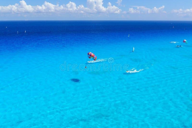 Watersports activity top view at caribbean ocean stock photos