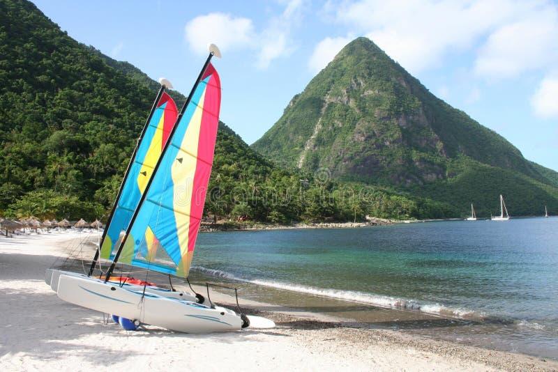 Watersports em St Lucia fotos de stock