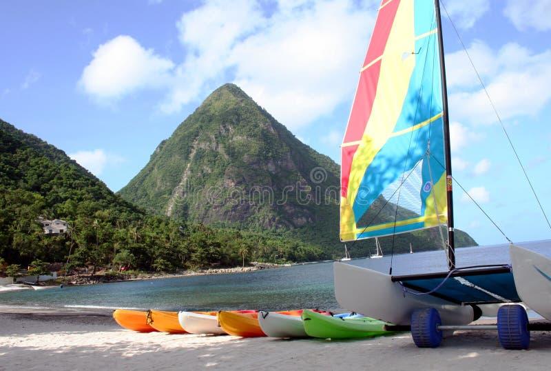 Watersports i Saint Lucia arkivbild