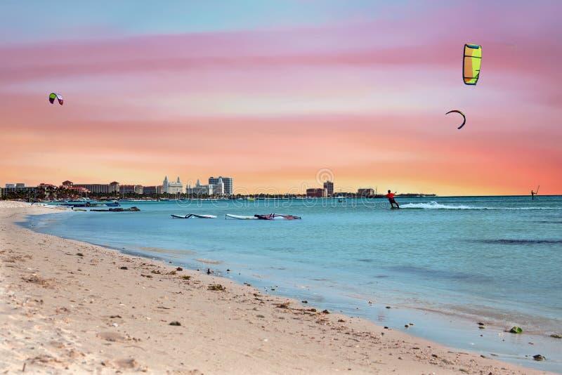 Watersports at Palm Beach on Aruba island in the Caribbean Sea stock photos