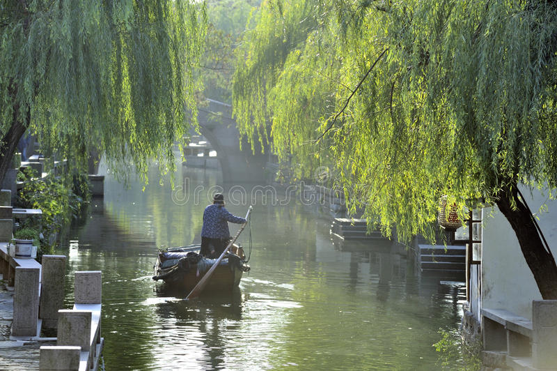 Waterstad van Zhouzhuang in China stock foto