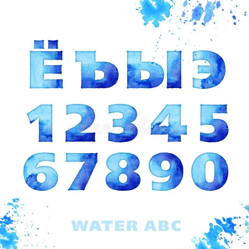 waterstijl het van letters voorzien reeks royalty-vrije illustratie