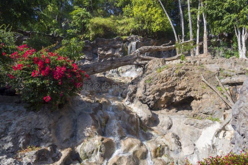 Waterstromen over de rotsen in het Park stock afbeelding