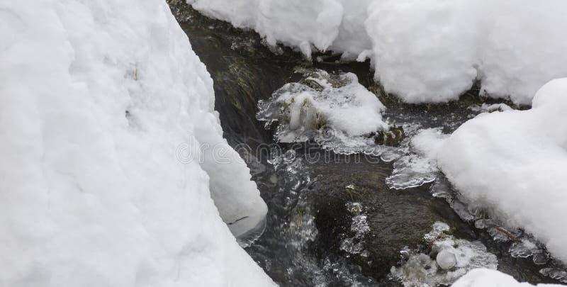 Waterstroom in de de wintertijd royalty-vrije stock afbeeldingen