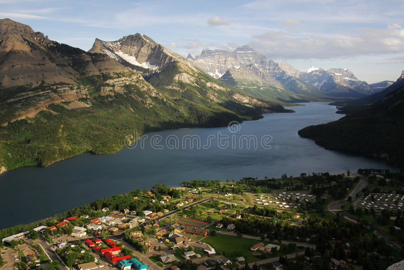 Download Waterton village and lake stock photo. Image of crest - 5678772