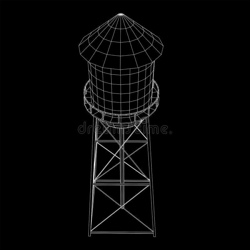 Watertoren Industriële bouwvector vector illustratie