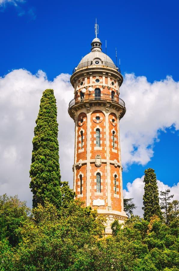 Watertoren Torre DE les Aigues DE Dos Rius bij bergen in Barcelona stock fotografie