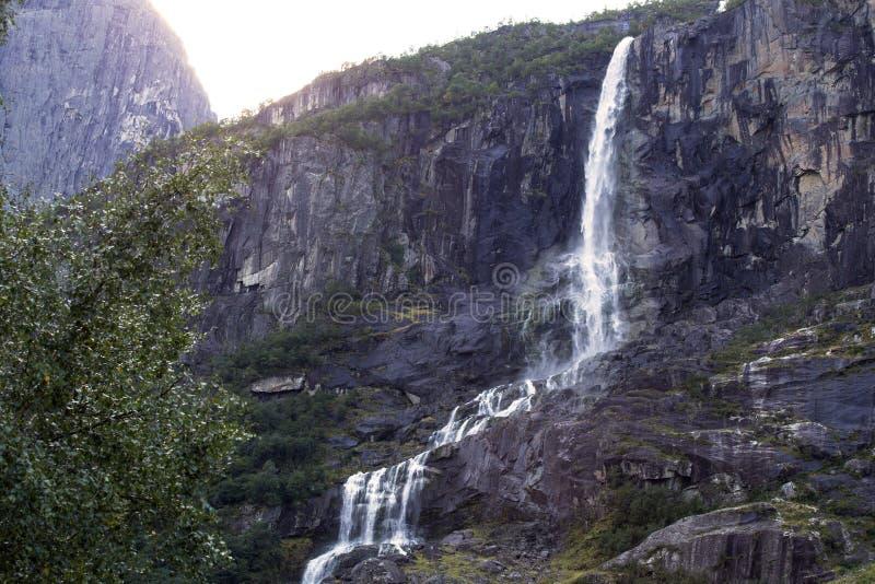 Waterval in berg boslandschap, kleurrijk de schoonheidszonlicht van Noorwegen royalty-vrije stock afbeelding