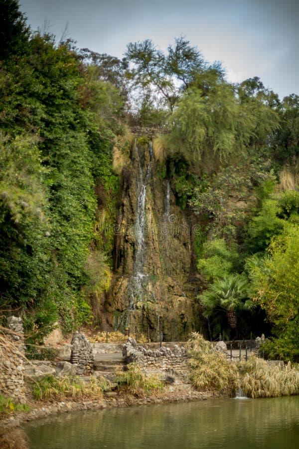Waterval bij Japanse tuin stock afbeelding
