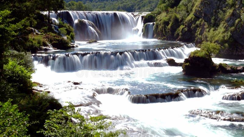 Waterval in bos, Bosnie royalty-vrije stock afbeeldingen