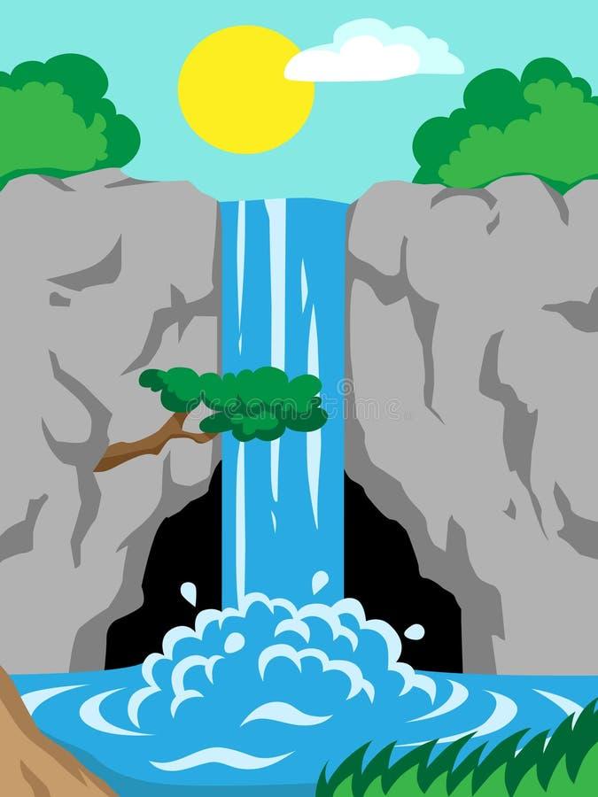 Waterval in de bergen vector illustratie