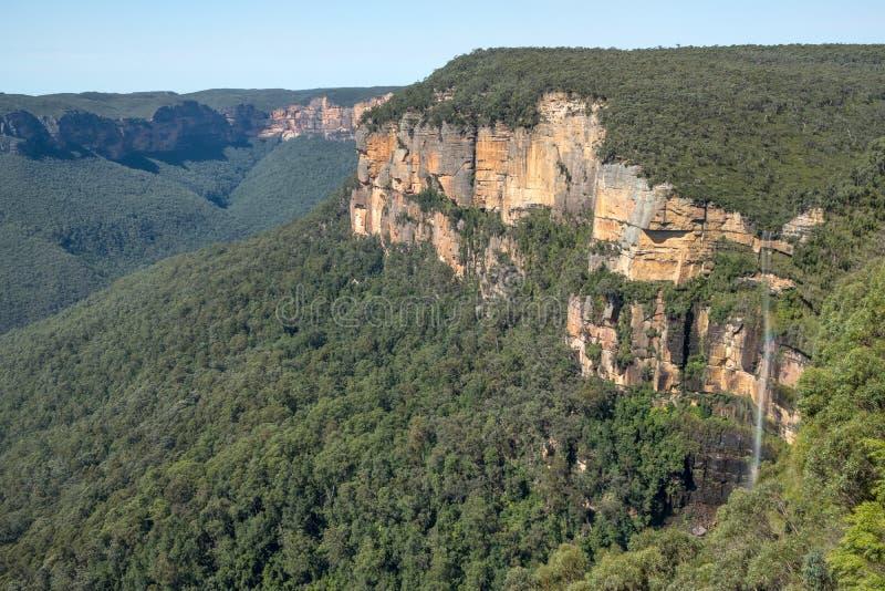 Waterval dichtbij Govetts-Sprong, Blauwe Bergen, NSW, Australië royalty-vrije stock foto's