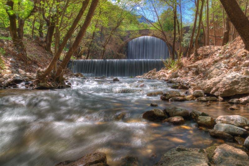 Waterval dichtbij Trikala, Griekenland - de lentebeeld royalty-vrije stock fotografie