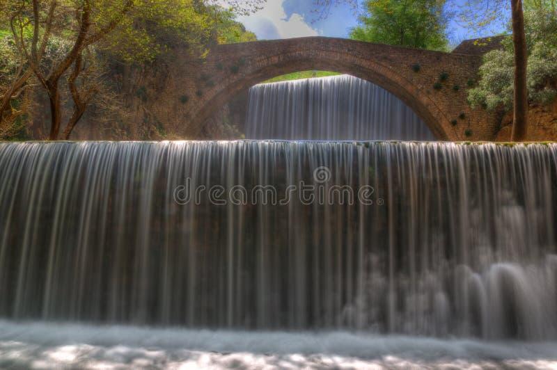 Waterval dichtbij Trikala, Griekenland - de lentebeeld royalty-vrije stock afbeelding