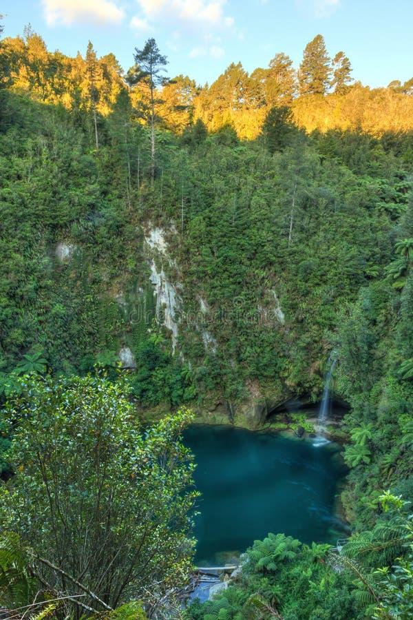 Waterval en duikpool bij bodem van diepe riviervallei stock fotografie